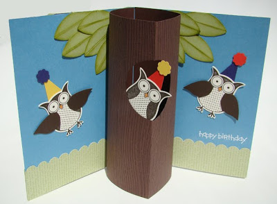 Owl Birthday Cylindrical Pop-Up Card