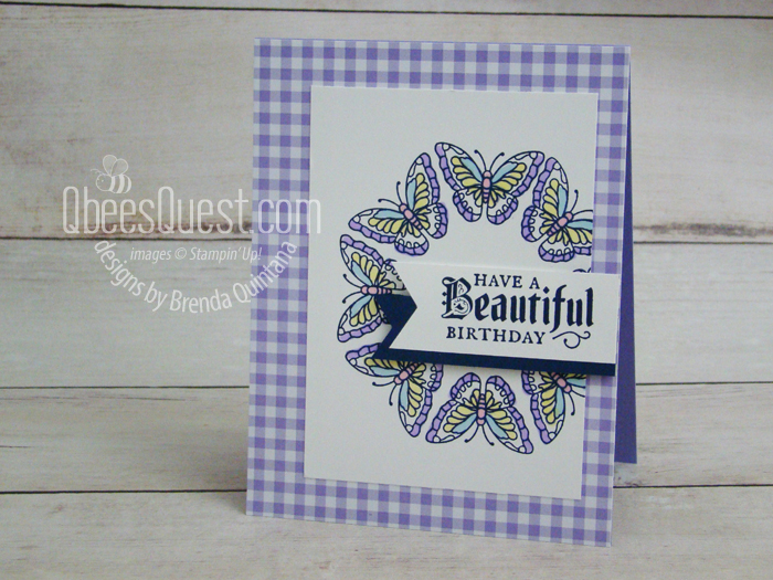 Painted Glass Butterfly Wreath Card